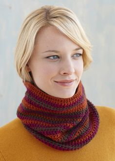 Rosy Striped Cowl -- a tighter fitting cowl.  Love the colors they use in this sample.