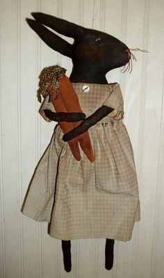 Primitive Grungy Black Bunny Rabbit Doll & Her Carrots #NaivePrimitive