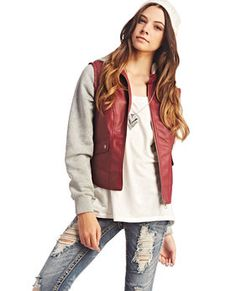 Fleece & Faux Leather Jacket