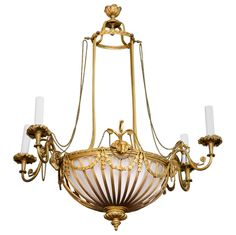 19th century chandeliers | Finely Cast French Gilt Bronze Chandelier, 19th…