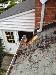 gutter fail. Talk about a reason to ALWAYS have downpipes leading directly into the next level of gutter, and NOT draining onto a roof...