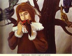 Le plaisir (la jeune fille mangeant un oiseau 1927 Huile sur toile 73.5x97.5 Dusseldorf, Dunstsammiung Nordrhein-Westfalen