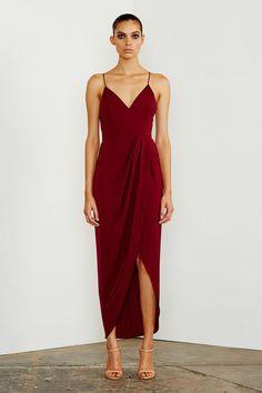 Shona Joy - Core Cocktail Midi Dress In Burgundy