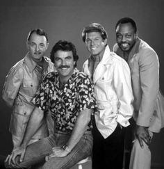 John Hillerman, Tom Selleck, Larry Manetti, and Roger E. Mosley in promo for 'Magnum, P.I.' (1980)