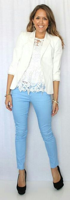 Our love this color combo blue with white lace!