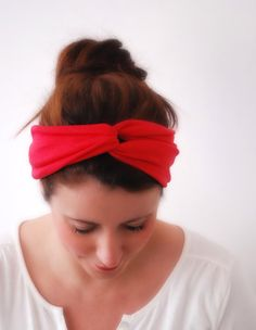 RED Twisted Headband Jersey Turband Hair Wrap by stunninglooks, €9.00
