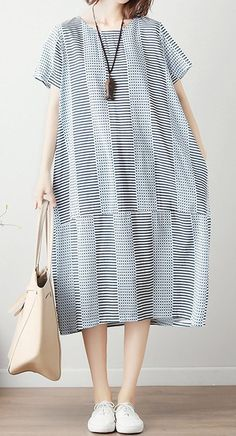 Women loose fit dress pocket tunic stripes large size short sleeve casual chic #Unbranded #dress #Casual