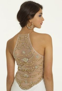 White Dresses - Illusion Back Halter Prom Dress from Camille La Vie and Group USA