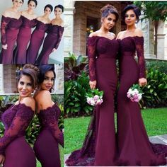 2017 Burgundy Long Sleeves Mermaid Bridesmaid Dresses Lace Appliques Off the Shoulder Maid of Honor Gowns Custom Made Wedding Guest Dresses from babyonline, $82.77   DHgate Mobile