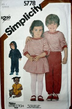 Simplicity 5778  Toddler Pull on Pants, Panties, Mini Skirt, Pullover Top, Unlined Jacket and Romper Sewing Pattern New / Uncut Size 1 by PatternDepot on Etsy