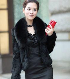 Real natural full pelt rabbit fur coat with fox fur collar women short fashion whole skin genuine fur jacket waistcoats