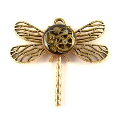 Dragonfly Pendant Steampunk Clockworks Watch Insect Pendant ( mechanical watch parts in resin )