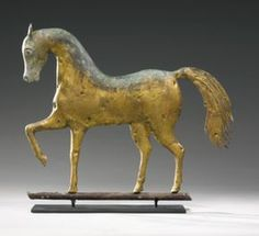 Small Molded and Gilded Copper Standing Horse Weathervane, Attributed to A.L. Jewell & Co., West Bridgewater, Massachusetts, Third Quarter 19th Century LOT SOLD.  $ 8,125 USD