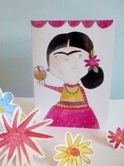 Frida con el búho (Heidi M Mcdonald) Etiquetas: ilustraciones fiesta folkart acuarela brightcolours Frida Kahlo mexicano greetingcards sugarskull littlenore fridakahlandcupcakes fridakahlogreetingcards drawingoffrida