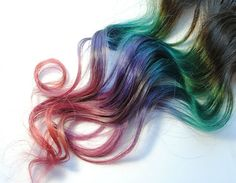 Brunette Aztec Tribal Set  - Human Hair Extensions - Dip Dyed Tips / Tie Dyed Clip Ins // Brown Teal Blue Purple Pink Peach / Rainbow Ombre