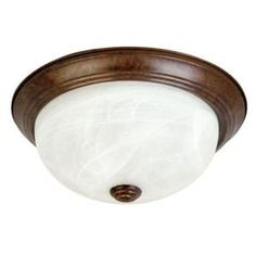 Yosemite Home Decor, Belen 2-Light Dark Brown Flushmount with White Marble Glass Shade, JK102-13DB at The Home Depot - Mobile