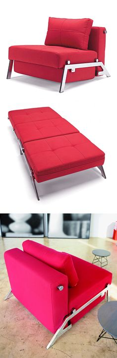 Comfy red convertible chair folds out to a twin sleeper mattress in seconds! #furniture_design