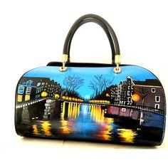 """Ba70 Borsa in PELLE, """" Amsterdam di notte"""", Hanùl borse in pelle dipinte, accessori dipinti a manoHANUL di Giorgino Daniela"""