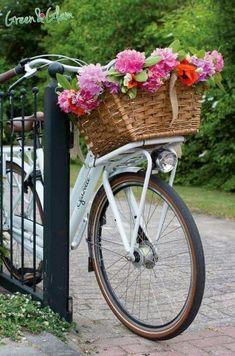 Bicycle Cart, Bicycle Decor, Bicycle Basket, Old Bicycle, Velo Retro, Velo Vintage, Vintage Bicycles, Photo Velo, Bike Planter