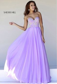 Long Lavender Prom Dress