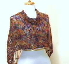 Hand Knit Mohair Poncho in Rainbow Colors by PhylPhil on Etsy