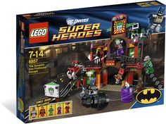 Lego 6857 Exclusive set The Dynamic Duo Funhouse Escape Help BatmanTM save Robin from the villainous trio!The RiddlerTM, The Joker and his sidekick Harley Quinn Batman Robin, Batman Sets, Lego Batman, Legos, Harley Quinn, Super Hero Games, Der Joker, Lego Building Sets, Lego Universe