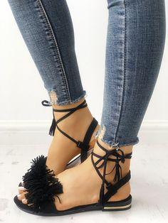 8b69092bb84f Shop Strappy Tassel Open Toe Flat Sandals right now