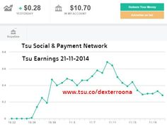 TSU EARNINGS UPDATE - 21-11-2014 ok so not a fortune but how much does Facebook pay you?  Lets talk the bigger picture ..... Tsu has just passed 1 million users in less than 1 month.... that is record growth .... no social site has hit 1 million members quicker.