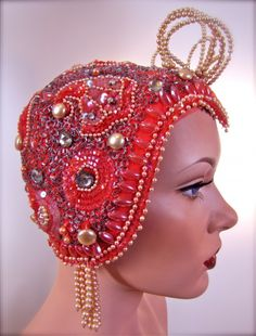 #vintage 1920's Beaded Sequined Jeweled Flapper Era Showgirl Cap Cloche