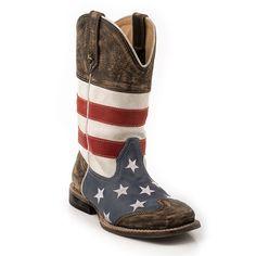 Roper Kid's Americana Flag Square Toe Western Boots