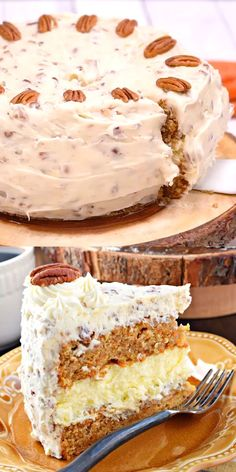 This Carrot Cake Cheesecake Cake is a showstopper! Layers of homemade carrot cak… This Carrot Cake Cheesecake Cake is a showstopper! Layers of homemade carrot cake, a cheesecake center and it's all topped with a delicious cream cheese frosting! Carrot Cake Cheesecake, Cheesecake Recipes, Dessert Recipes, Easter Cheesecake, Popular Cheesecake Flavors, Dessert Recipe Video, Baklava Cheesecake, Apple Crisp Cheesecake, Layer Cake Recipes
