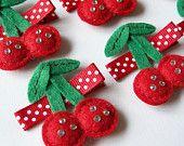 Felt Cherries Hair Clip - An adorable red and sparkly cherry felt clippie - Cute every day clip - Birthday party favor