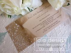 Gold embossed with ribbon 50th birthday invitation