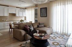 Фотография: в стиле , Современный, Квартира, Проект недели, Москва, Никита Морозов, KM Studio, кухня-гостиная с барной стойкой, постирочная в квартире, новостройка, спальня с гардеробной – фото на InMyRoom.ru