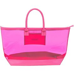Stephanie Johnson Miami Carry-All Tote - Neon Pink - All Purpose Totes ($54) ❤ liked on Polyvore featuring bags, handbags, tote bags, pink, zip tote bag, pink tote bags, clear purses, zip tote and pink shoulder bag
