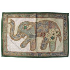 44 x 32 Large Brown Elephant Patchwork Embroidered by RoyalFurnish, $29.99