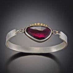 Garnet Tension Cuff Bracelet