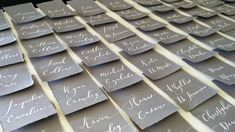 Grey Deckle Edges Escort Cards / Place Cards Tear Edges /Folded Place Card / Handmade Place Cards for Wedding or Events / Grey paper