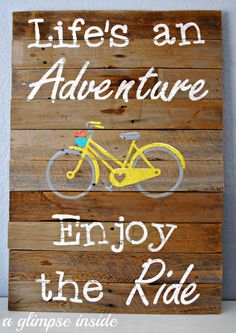 DIY Pallet sign Ideas -Life's an Adventure Pallet Sign - Upcycled Pallet Art Cool Homemade Wall Art Ideas and Pallet Signs for Bedroom, Living Room, Patio and Porch. Creative Rustic Decor Ideas on A Budget http://diyjoy.com/diy-pallet-signs-ideas
