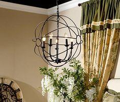 Aiwen Globe Candle Wrought Iron Chandelier Pendant Light ...