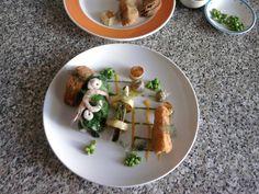Merluzzo  lattuga e  gamberetti,melenzana in carrozza finocchio e patate Gino D'Aquino