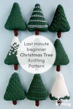 Nine different Christmas trees which can be left as they are or decorated. They are perfect for making baubles, hanging ornaments, garlands and other decorations! Find this perfect beginner Holiday pattern and more knitting inspiration at LoveKnitting. Knitted Christmas Decorations, Knit Christmas Ornaments, Christmas Tree Garland, Crochet Christmas Trees, Christmas Tree Knitting Pattern, Yarn Crafts, Christmas Crafts, Christmas Ideas, Different Christmas Trees
