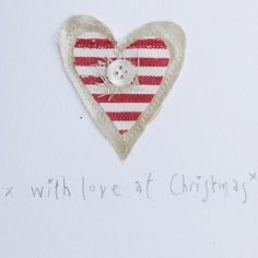 Heart embroidered textile 'with love at Christmas' card - FREE UK SHIPPING | GWAG