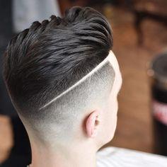 High fade haircut with a shaved line #menshair #menshaircuts #fadehaircuts #fades #highfade #highfadehaircut #hairdesign #menshairtrends #menshair2018