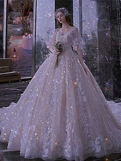 Sparkly Gowns, Sparkle Dresses, Formal Dresses, Wedding Dresses, Quince Dresses, White Gowns, Dress Designs, Draco, Aesthetic Clothes