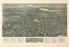1914 Amesbury, Massachusetts, City View, antique Map, ART, Beautiful Town, 20x14