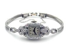 Vintage Deco Platinum 1ct Diamond Hamilton 995A Manual Watch 17Jewels by AntiqueJewelryLine on Etsy