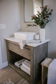 Weathered wood vanity for coastal Farmhouse Farmhouse Vanity, Coastal Farmhouse, Modern Farmhouse, Reclaimed Wood Vanity, Weathered Wood, Coastal Bathrooms, Etagere Bookcase, Bathroom Inspiration, Bathroom Ideas