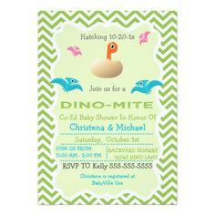 Dinosaur Hatching Baby Shower Invitation