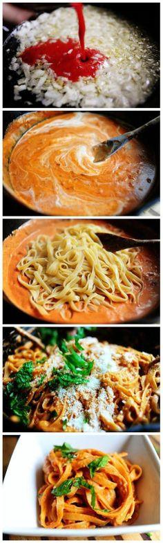 Pasta with Tomato Cream Sauce - Joybx.